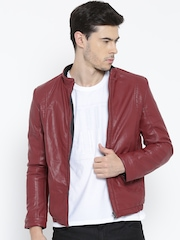 Fort Collins Maroon Faux Leather Jacket