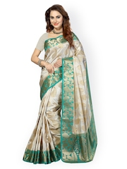 Ishin Off-White & Green Poly Silk Traditional Saree
