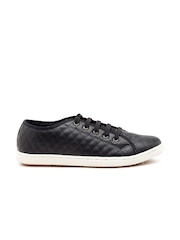 Carlton London Women Black Quilted Sneakers