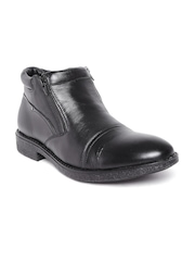 Numero Uno Men Black Solid Mid-Top Flat Boots