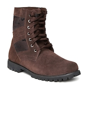 Numero Uno Men Brown Solid High-Top Flat Boots