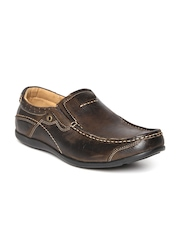 Numero Uno Men Brown Solid Leather Loafers