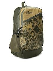 Roadster Men Olive Green & Brown Printed Backpack