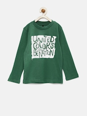 United Colors of Benetton Boys Green Printed T-shirt