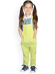 My Lil Berry Girls Lime Green Linen Dungarees