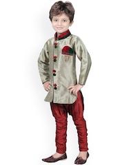 Jeetethnics Boys Gold-Toned & Maroon Silk Kurta Pyjama Set