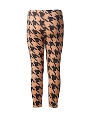 naughty ninos Girls Beige & Black Houndstooth Print Ankle-Length Leggings
