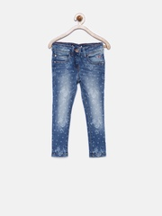 Allen Solly Junior Girls Blue Printed Jeans
