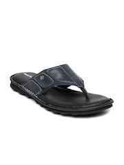 Hush Puppies Men Navy & Black Leather Rebound Sandals