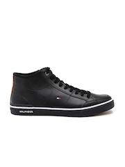 Tommy Hilfiger Men Black Leather Sneakers