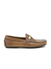 Tommy Hilfiger Men Tan Brown Leather Loafers