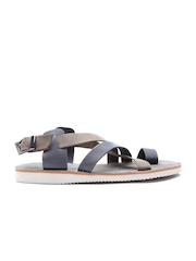 United Colors of Benetton Men Grey & Brown Strappy Leather Sandals