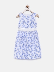 Allen Solly Junior Girls White & Blue Printed Fit & Flare Dress