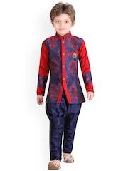 Jeetethnics Boys Blue Silk Kurta Pyjama