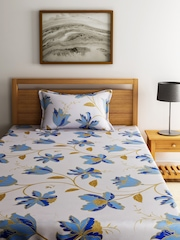 BOMBAY DYEING Off-White & Blue Cotton 144 TC Single Bedsheet with 1 Pillow Cover