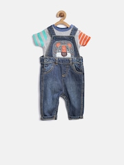 mothercare Boys Navy & Grey Melange Denim Clothing Set