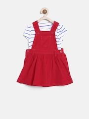 mothercare Girls Red Dungarees with T-shirt