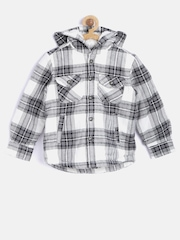 mothercare Boys Grey & White Checked Hooded Jacket