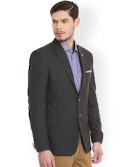 Canary London Charcoal Grey Polyester Single-Breasted Slim Fit Casual Blazer