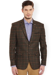 Canary London Green Checked Polyester Single-Breasted Slim Fit Casual Blazer