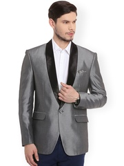 Canary London Grey Single-Breasted Slim Fit Tuxedo Blazer