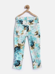 612 League Girls Blue Printed Flat-Front Trousers