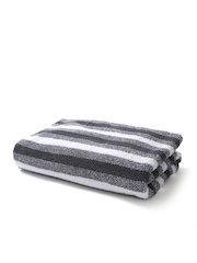 SPACES Finessence Charcoal Grey Striped Cotton 600 GSM Bath Towel
