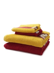 SPACES Set of 4 Maroon & Mustard Yellow 450 GSM Towels