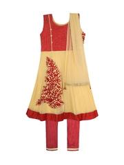 Jazzup Girls Cream-Coloured & Red Embroidered Churidar Kurta with Dupatta