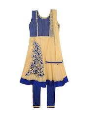 Jazzup Girls Cream-Coloured & Blue Embroidered Churidar Kurta with Dupatta