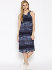 Vero Moda Navy Printed A-Line Dress