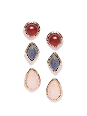 FOREVER 21 Set of 3 Stone-Stud Earrings