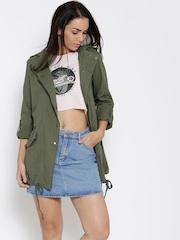 FOREVER 21 Olive Green Hooded Longline Jacket