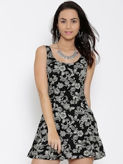 FOREVER 21 Black Printed A-Line Dress