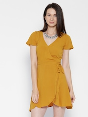 FOREVER 21 Women Mustard Yellow Solid Wrap Dress