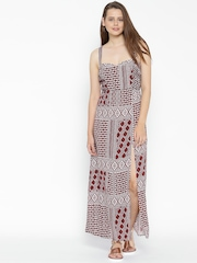 FOREVER 21 Women Maroon Printed Maxi Dress