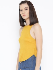 FOREVER 21 Women Mustard Yellow Self-Striped Tank Top