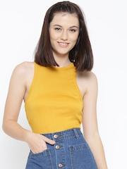 FOREVER 21 Women Mustard Yellow Self-Striped Tank Top