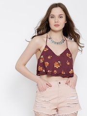 FOREVER 21 Wine-Coloured Printed Layered Crop Top