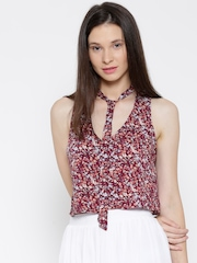 FOREVER 21 Women Wine-Coloured Printed Crop Top