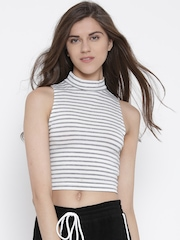 FOREVER 21 Women White Striped Crop Top