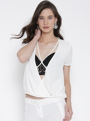 FOREVER 21 Women Off-White Solid Crossover Top