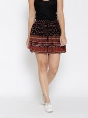 FOREVER 21 Black Printed Flared Mini Skirt