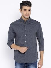 Flying Machine Men Grey Printed Slim Fit Casual Shirt