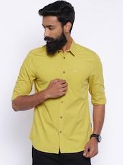 Jack & Jones Men Mustard Yellow Slim Fit Casual Shirt
