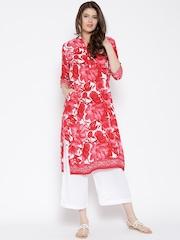Shree Red Floral Print Kurta