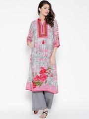 Shree Grey & Pink Floral Print Embellished Kurta