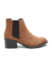 FOREVER 21 Women Brown Suede Heeled Boots