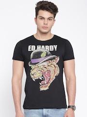Ed Hardy Black Printed T-shirt