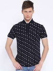 Ed Hardy Black Printed Polo T-shirt